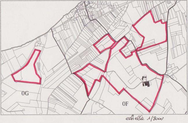 Plan des surfaces cultivées de la ferme de la Guilbardière